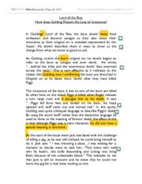 Loss Of Innocence Essay by Lord Of The Flies Piggy Quotes With Page Numbers About Quotesgram