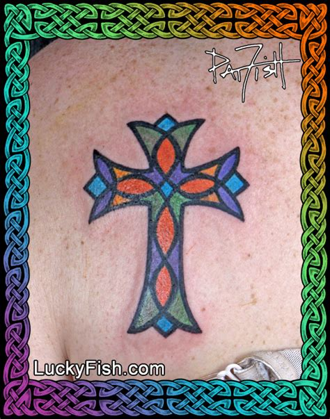 stained glass cross tattoo stained glass cross luckyfish inc and