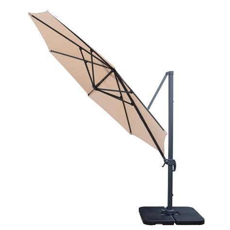 11 Ft Cantilever Patio Umbrella And 4 Piece Fillable Patio Umbrellas Stands