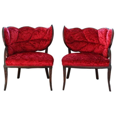 Boudoir Furniture by Pair Of Deco Mahogany Velvet Leaf Back Boudoir