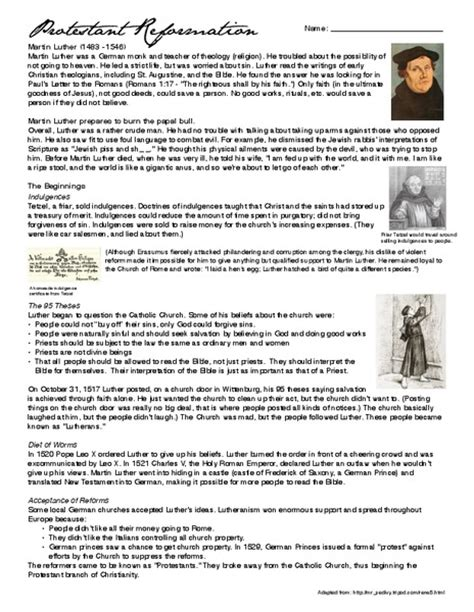 Protestant Reformation Worksheet protestant reformation worksheets photos mindgearlabs