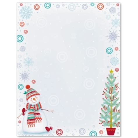 lined paper with snowman border snowman delight border paper paperdirect