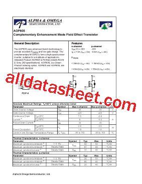 Aop605 P605 aop605 datasheet pdf alpha omega semiconductors