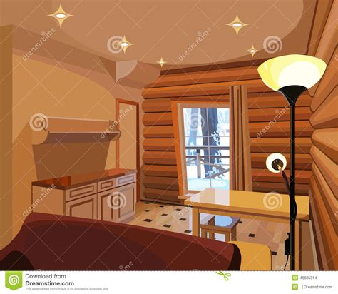 house interior cartoon cartoon interior in a wooden house stock vector image 46685314