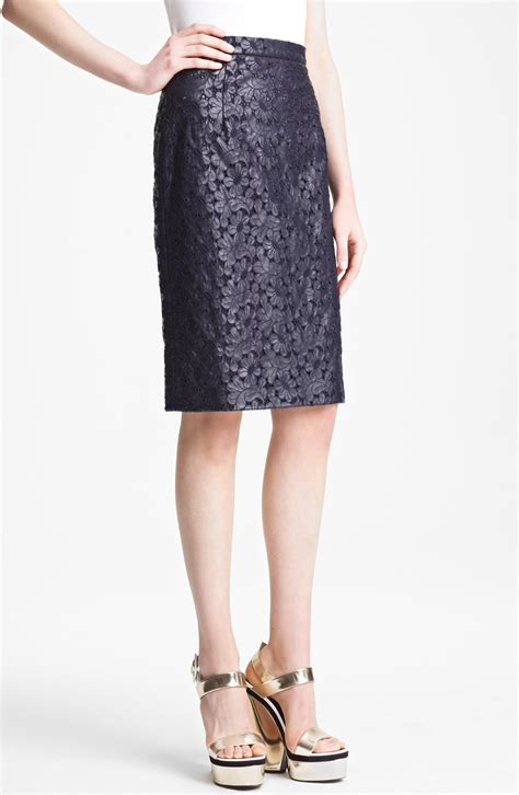 erdem embroidery anglais faux leather pencil skirt in blue