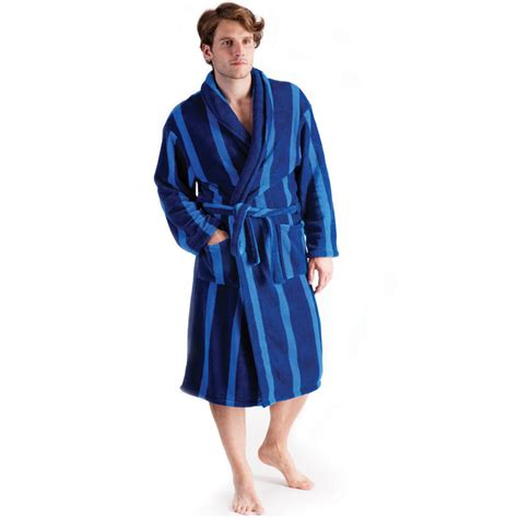 house coats tom franks mens supersoft coral fleece blue with stripe wrap dressing gown bath robe