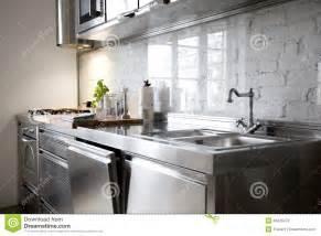 Mosaic Kitchen Backsplash Modern Kitchen With Stainless Steel Appliances Stock