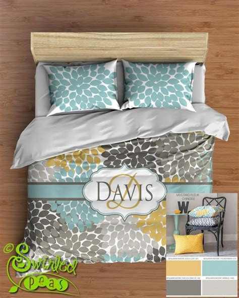 yellow and grey bedding fel7 dahlia floral bedding comforter or duvet bed set personalized trending yellow aqua blue gray