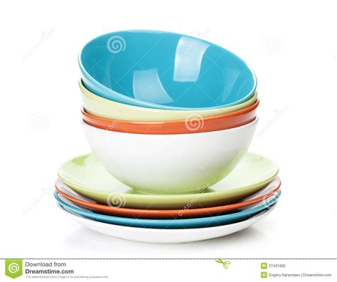 Bowl Plate colorful bowls and plates royalty free stock photo image