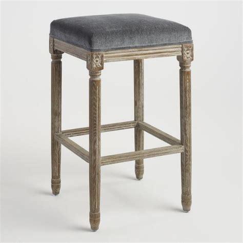 Gray Washed Wood Bar Stools by Gray Washed Saddle Seat Barstool