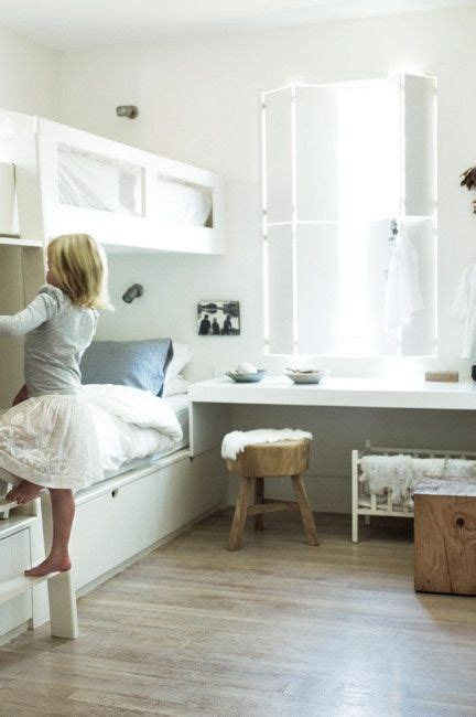 shelves around bed bedrooms pinterest girls built love the shelf beneath the window kids bedroom