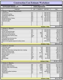 Building A House Estimate by Construction Cost Estimate Worksheet