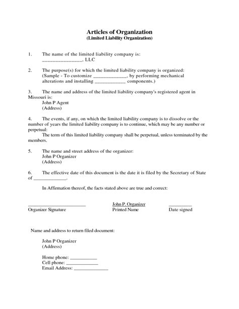 Articles Of Organization Template Ultramodern Print Louisiana Llc Limited Liability Company Form Articles Of Organization Oregon Template