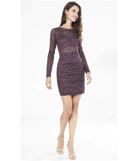 express berry metallic lace cut out back sheath dress