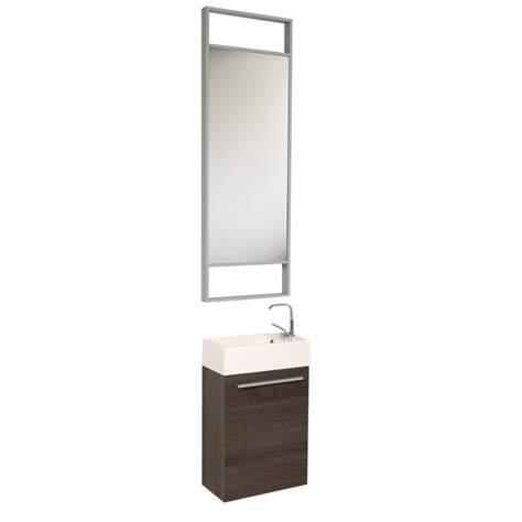 15.5 Inch Small Gray Oak Modern Bathroom Vanity with Tall