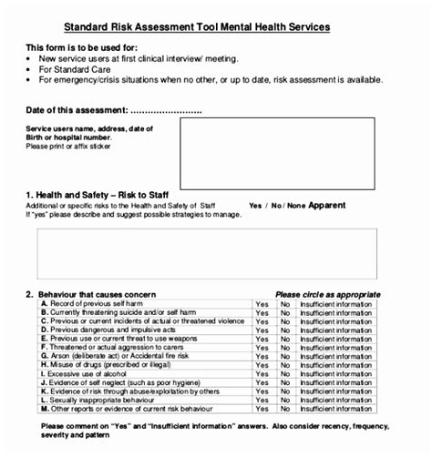 Sle Health Risk Assessment Resume Template Sle Care Home Risk Assessment Template