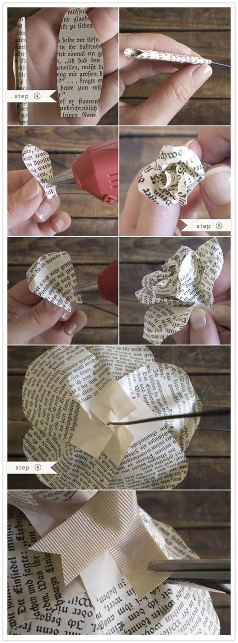 How To Make Book Paper Flowers - diy create paper roses from books nation