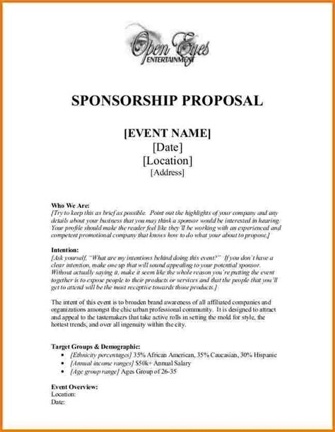 acceptance letter for charity event sponsorship sponsor proposals