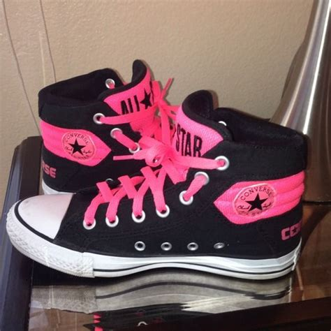 neon pink and black converse chuck high top black