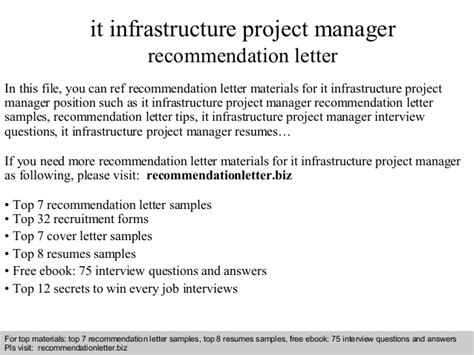 Infrastructure Project Manager by It Infrastructure Project Manager Recommendation Letter