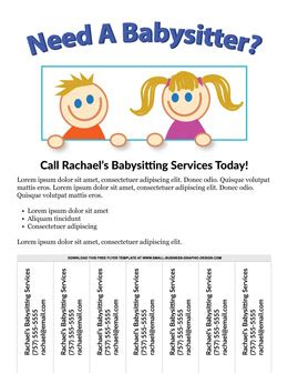 Free Flyer Templates Online Babysitting Ad Template