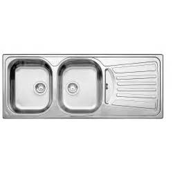 blanco 2 bowl right drainboard topmount stainless