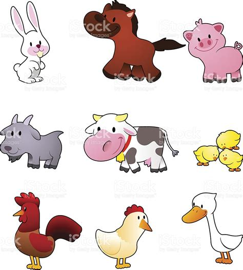 imagenes de animales vertebrados animados conjunto de dibujos animados de animales de granja arte