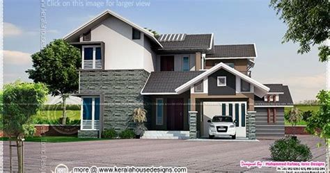 2015 sq ft sloping roof home kerala home design and 2099 square feet sloping roof house elevation home