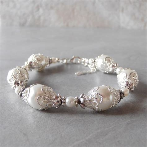 Handmade Bracelets For - white pearl bracelet white bridal jewelry beaded bracelet