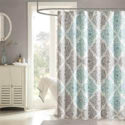 Youth Shower Curtains Aqua Blue Grey White Modern Damask Fabric Shower Curtain Bathroom Bath Shower Curtains