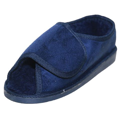mens xl slippers jwf unisex wide fit fur lined open toe velcro navy