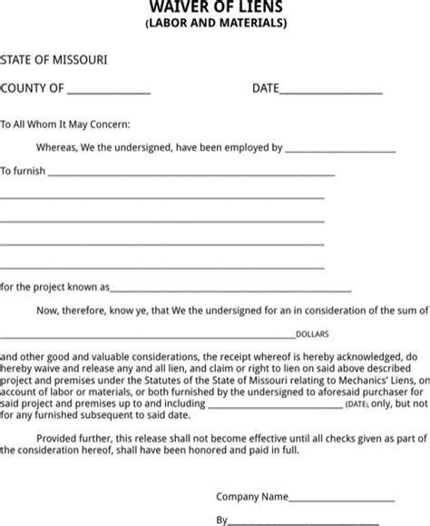 download missouri lien release form for free formtemplate