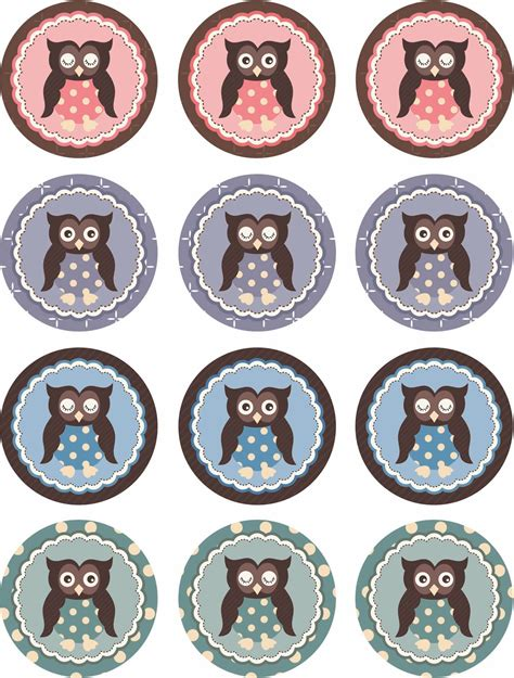 printable owl cupcake toppers bottle cap images bottle caps and angry birds on pinterest