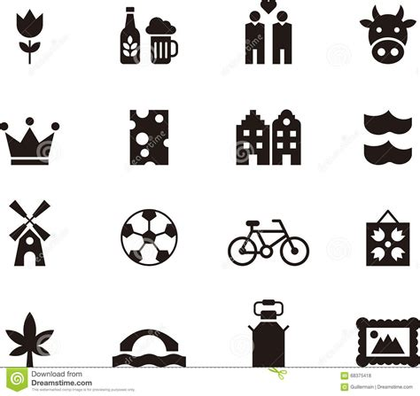Amsterdam Fashion Icons And by Set Of Icons For The Netherlands Stock Vector Image