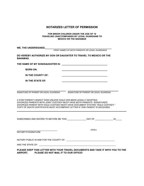 notarized letter template for child travel best photos of notarized parental authorization letter