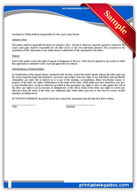 property settlement agreement template free printable property settlement agreement form generic