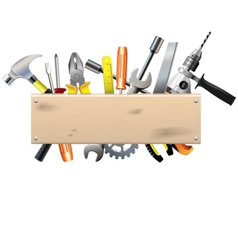 free woodworking tools hardware tools with wood boards background vector vector