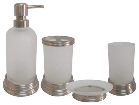 contemporary bathroom accessories glass and chrome bath accessory 4 set