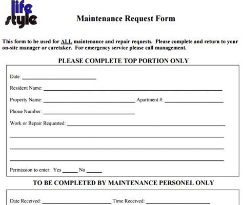 6 free maintenance request form templates word excel