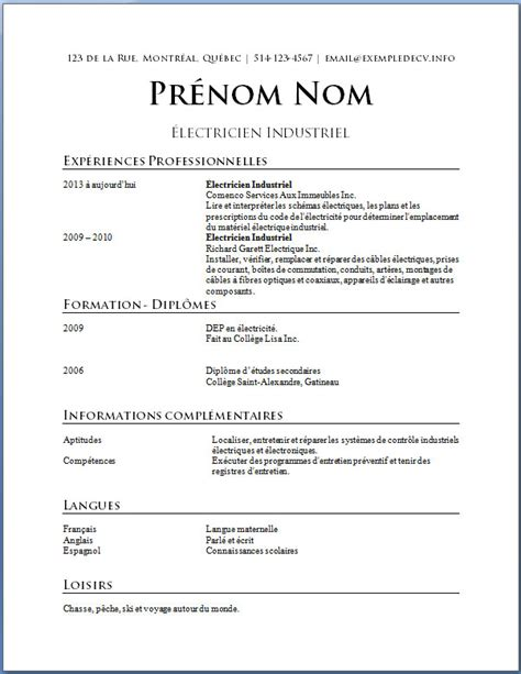 Cv Francais Simple by Modele Cv Simple Francais Cv Model En Francais Word