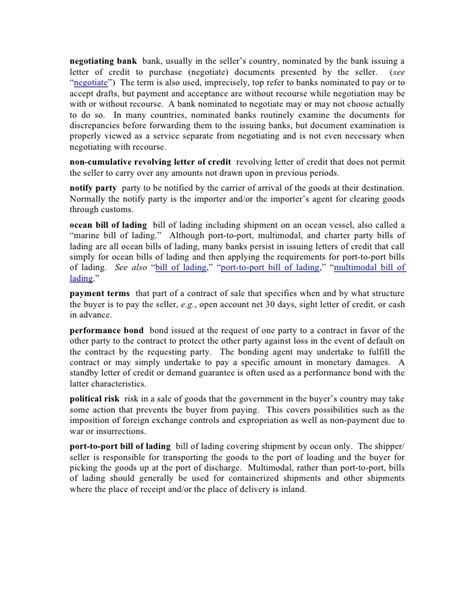 Letter Of Credit Negotiation Documents International Trade Glossary