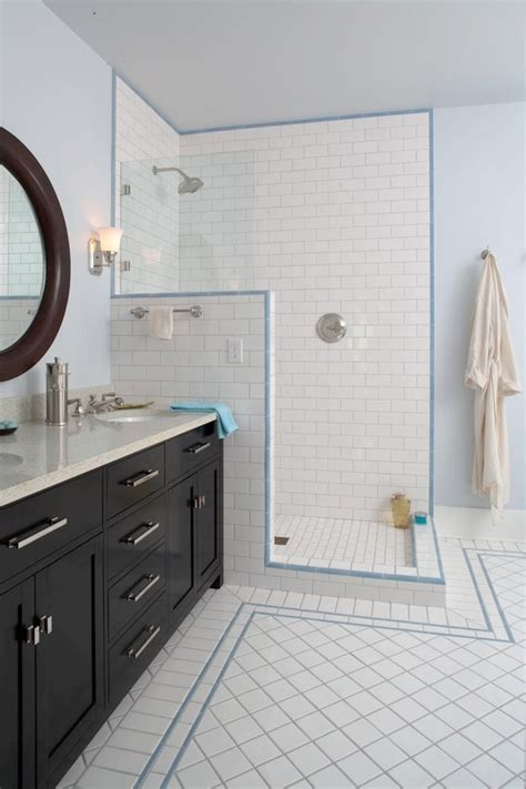 accent tiles for bathroom white subway tile shower bathroom traditional with bench