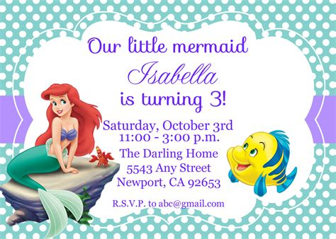 the little mermaid invitation ariel disney by