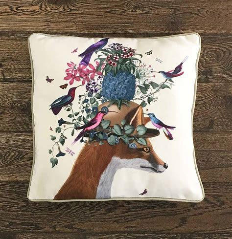 fox decor for the home fox and pineapple decorative cushion by fabfunky home