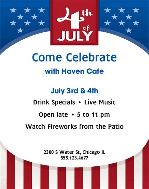 4th of july menu template independence day flyer 4th of july flyers