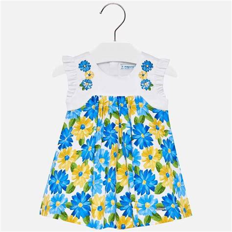 embroidered floral yellow  blue dress  baby