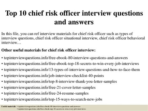 Chief Risk Officer Cover Letter by Top 10 Chief Risk Officer Questions And Answers
