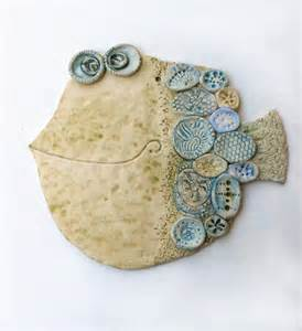 Handmade Ceramic Paintings - ceramic fish on folk fish clay fish and