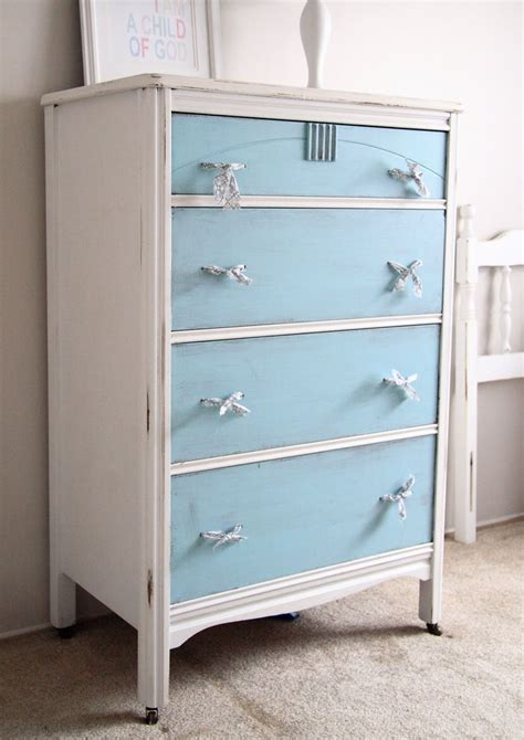 White Dresser With Blue Drawers by White Cabinet With Blue Drawers Painted Furniture