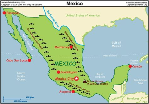 mexico physical map maps of mexico places i ve or would to